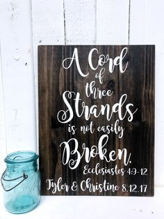 A Cord of Three Strand | Wood Sign | NO HOOK | Wedding Sign | Ecclesiastes 4:9 by LegacyWoodDesigns on Etsy