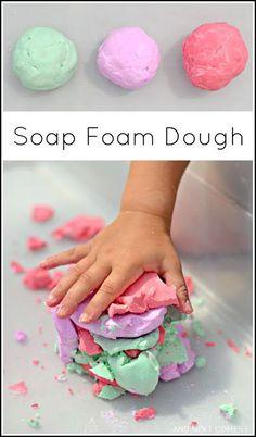 Soap Foam Dough {Sensory Dough Recipe for Kids} – – … - Schaum Handwerk Sensory Art, Sensory Bins, Sensory Rooms, Autism Sensory, Sensory Table, Infant Activities, Preschool Activities, Sensory Activities For Preschoolers, Preschool Projects