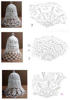 Zdjęcie Crochet Diagram, Crochet Chart, Thread Crochet, Filet Crochet, Crochet Doilies, Crochet Flowers, Fabric Christmas Trees, Crochet Christmas Ornaments, Crochet Snowflakes