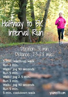 Halfway to 5K: an interval run for beginner 5K training. I think i can run more than this but i think its a great way to make it consistent.