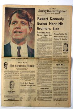 *JUNE 1968 ~ Robert F. Kennedy, buried near his brothers side. Modern History, World History, Vintage Newspaper, Newspaper Headlines, John F Kennedy, Historical Photos, American History, Robert Kennedy Assassination, Google Search