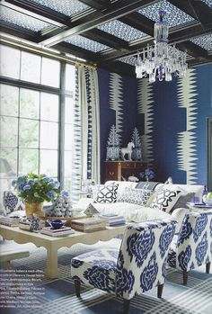 blue and white living room - amazing room
