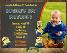 Despicable Me 2 Minions Birthday Personalized Invitations FREE THANK