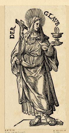"""""""Der Glaub"""", Serie """"Die sieben Tugenden"""", c.1510, Hans Burgmair der Ältere (1473-1531) Public Domain"""