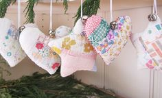 Vintage Patchwork Ornament Set of 5 Christmas Stars and Hearts. $25.00, via Etsy.