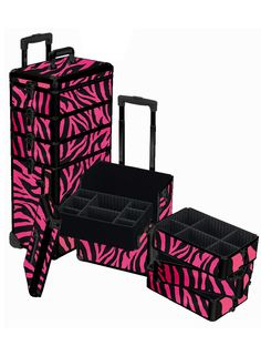 4 in 1 Pink Zebra Rolling Makeup Case, only  $159.95 plus free shipping! #pink
