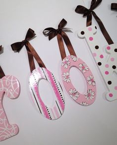 Custom hand painted wooden wall letters - pink and brown by MySweetDreamsArt on Etsy https://www.etsy.com/listing/217036519/custom-hand-painted-wooden-wall-letters