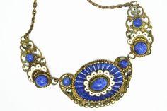 Vintage Neiger art deco Czech lapis glass enamel filigree necklace