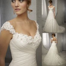Design Vintage Wedding Dress Lace Cap Sleeve Beaded A Line Bridal Dresses…