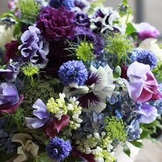 Blue, purple and green bouquet Table Flowers, Fresh Flowers, Spring Flowers, Beautiful Flowers, Spring Bouquet, Silk Flowers, Arte Floral, Deco Floral, Floral Design