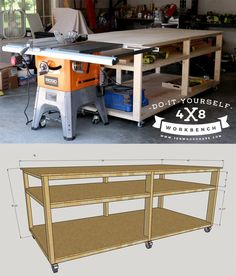 How to build a DIY workbench - free plans and tutorial. Build it for about $100! This would be PERFECT to replace those silly metal tables we have in garage!!