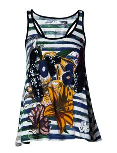 TS_MOMA - Create bold summer personality with this flared top from Desigual featuring an array of colour, prints and shiny sequins.   *Sleeveless  *Round neckline  *Racerback cinched with a ribbon bow