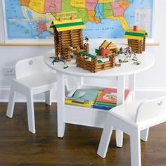 $199 Kids' Play Tables: Kids White Circular Solid Wood Storage Bin Table in Play Tables & Chairs