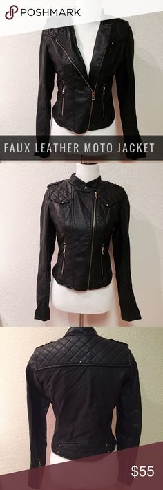 NWOT Gi Sono by Cavalini Faux Leather Moto Jacket New without tags, Gi Sono by Cavalini Faux Leather Moto Jacket. Size small. Never worn, perfect condition. Gi Sono Jackets & Coats