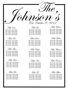 Black And White Wedding Seating Chart Table Ignments