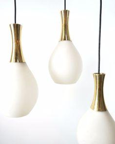 Vtg Mid Century Danish Modern Hanging Pendant Lamp Light Chandelier Brass Eames #unknown