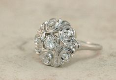 Vintage Engagement Ring Diamond Cluster Ring 14k White Gold Ring Mid Century Ring Estate Ring Cocktail Ring Wedding Ring Size 4.75