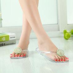 Woman Jelly Crystal Flip Flop