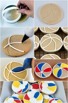 Tip for making perfect Beach ball cookies - Beach Ball - Ideas of Beach Ball Iced Cookies, Cut Out Cookies, Cute Cookies, Royal Icing Cookies, Cupcake Cookies, Cookie Favors, Baby Cookies, Flower Cookies, Heart Cookies