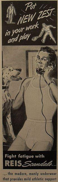 1940s REIS Scandals Men's Briefs Underwear Illustration Vintage Advertisement 3 by Christian Montone, via Flickr