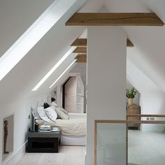 Love camping or glamping? Recreate the effect at home in a strikingly bright attic bedroom.