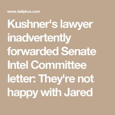 Kushner's lawyer inadvertently forwarded Senate Intel Committee letter: They're not happy with Jared