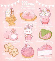 Cute Food Drawings, Kawaii Drawings, Cute Food Art, Cute Art, Sakura Menu, Sassafras Root, Chibi, Dessert Places, Colored Sugar