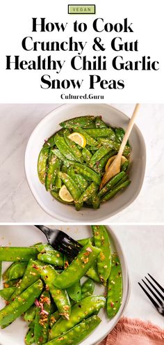 These chili garlic snow peas are so easy and quick to make. Snow peas are fiber-rich and great for gut microbiome health, which makes this recipe the perfect appetizer or snack. This recipe is so simple and makes a great side dish for any meal too. #vegan #sidedish #healthyrecipe Pea Recipes, Vegan Dinner Recipes, Delicious Vegan Recipes, Vegan Dinners, Side Dish Recipes, Vegetarian Recipes, Healthy Recipes, Healthy Food, Green Vegetable Recipes