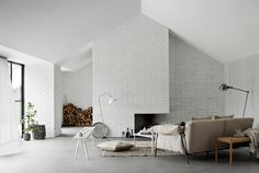 Bricked Fireplace, white and lightful