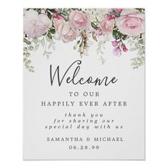 Rustic Boho Pink White Floral Wedding Welcome Sign - tap/click to personalize and buy #floral #happily #ever #after #wedding Diy Wedding Welcome Sign, Wedding Posters, Sign Templates, Wedding Signage, Summer Flowers, Save The Date Cards, Wedding Thank You, Floral Wedding, Pink White