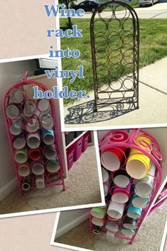Create a vinyl rack from a flea market wine rack. Craft Room Storage, Craft Organization, Craft Rooms, Storage Ideas, Diy Vinyl Storage, Storage Solutions, Vinyl Crafts, Cricut Vinyl Projects, Space Crafts