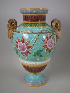 Majolica Passion Flower with Goat Handles Vase by Brown, Westhead, Moore & Co