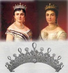 A sketch of the diamond and pear-shaped pearl tiara of Mercedes. Featring a Greek Key base, topped with diamond motifs and alernating pear-shaped pearls and circular diamond