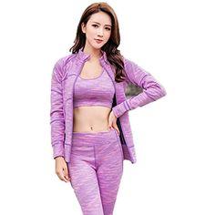 DUBAOBAO Femmes Yoga Noir Violet Costume kit de Sport pour Les Femmes Top  Soutien-Gorge Pantalons vêtements de Course de Danse Costume Pantalon de  Jogging ... 5ccc806a061