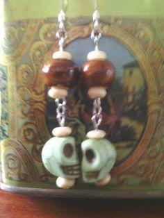 *SOLD*  mint green howlite bead dangle earrings
