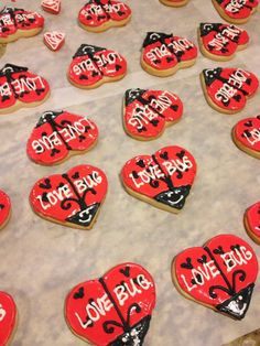 Love Bug sugar cookies for Valentine party Valentine Party, Valentine Ideas, Fun Cookies, Sugar Cookies, Love Bugs, Pta, Baby Showers, Shower Ideas, Party Ideas