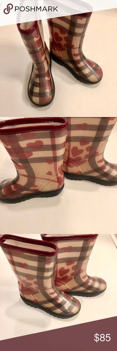 Burberry Heart Rain Boots Size 1. 31/32. So cute! Fits ages 8 and 9 :) Burberry Shoes Rain & Snow Boots