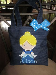 Items similar to TOTE BAG Disney's Cinderella Personalized Toddler or Big Kid Tote on Etsy Cinderella Party, Trick Or Treat Bags, Bday Girl, Sewing For Kids, Sewing Ideas, Cute Little Girls, Kids Bags, Big Kids, Creations