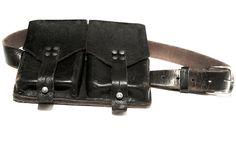 Mandula Vintage Leather Double Pocket Belt Bag  Available in Black