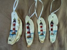 Oyster Shell Ornament of Morris Island Lighthouse