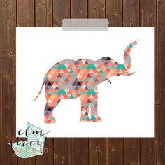 Geometric Elephant Silhouette Print/ Elephant by ElmStStudioPrints, $7.00