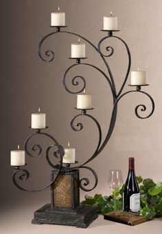 KARA Candelabra with Ivory Candles, Design by Carolyn Kinder Brand Uttermost Wrought Iron Decor, Wrought Iron Gates, Glass Candelabra, Candle Lanterns, Wrought Iron Candle Holders, Iron Furniture, Tuscan Decorating, Iron Art, Candle Stand