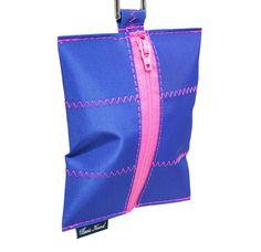 Classic Hound Collar Co. | Salty Dog Nautical Pink Leash Bag #walkthedog #recycledsailcloth