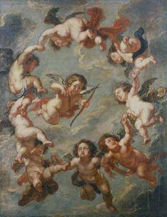 Putti, a ceiling DECORATION peter paul rubens plafond peinture ange B 03075 Renaissance Kunst, Renaissance Paintings, Baroque Painting, Baroque Art, Google Art Project, Baby Art, Peter Paul Rubens, Art Sculpture, Classic Paintings