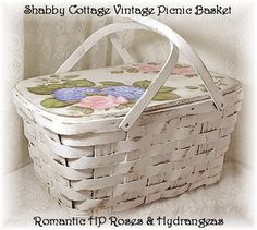 Shabby Cottage Chic Picnic Basket with Pink Roses & Blue Hydrangeas