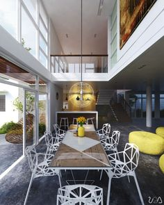 Dining Room, Beautiful Modern Dining Room Scheme Combination Yellow Color In The Dining Room So Amazing Picture Chandelier Nice: The Picture...
