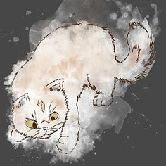 'Playfull cat, burning fur' by Minouchtik Framed Prints, Canvas Prints, Art Prints, Long Hoodie, Cotton Tote Bags, Wall Tapestry, Decorative Throw Pillows, Art Boards, My Design