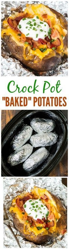 "Crock Pot Baked Potatoes recipe — the easiest way to ""bake"" a potato is in your slow cooker! Easy method with no clean up. Great for weeknight dinners or to feed a crowd. Recipe at http://wellplated.com @wellplated"