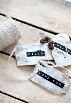 dymo label tags on silver birch bark! Christmas Gift Decorations, Christmas Wrapping, Christmas Gifts, Tree Decorations, Christmas Ornaments, Memo Boards, Wrapping Gift, Dymo Label, Birch Bark