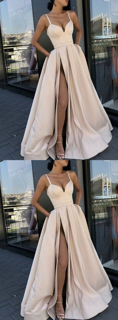 Simple Straps A-line Side Slit Lace Long Evening Prom Dresses, Cheap Sweet 16 Dresses Prom Dresses Simple Prom Dresses Lace Evening Dresses Cheap Evening Dresses Long Prom Dresses Prom Dresses 2019 Split Prom Dresses, Prom Dresses With Pockets, Straps Prom Dresses, Ball Dresses, Homecoming Dresses, Champagne Prom Dresses, Dress Prom, Dress Pockets, Ball Gowns Prom